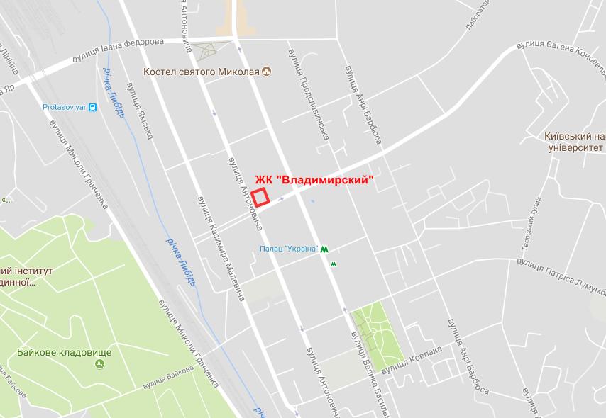 Расположение ЖК «Владимирский» на карте