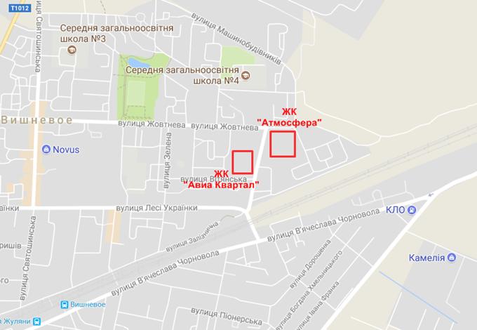 ЖК Атмосфера Вишневое на карте
