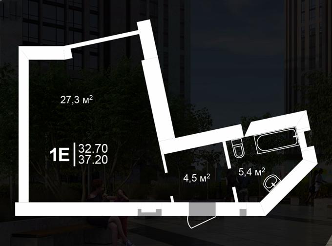 ЖК Атмосфера Вишневое вариант планировки однокомнатной квартиры