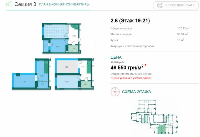 ЖК Crystal House вариант планировки трехуровневой квартиры