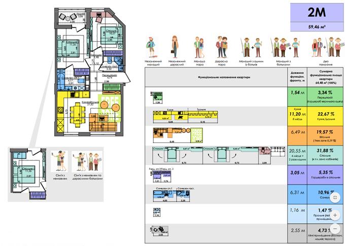 ЖК Файна Таун вариант планировки квартиры с двумя спальнями