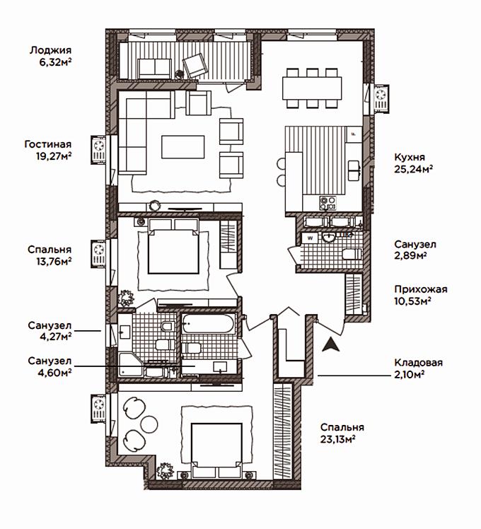 ЖК Камертон планировка трехкомнатной квартиры
