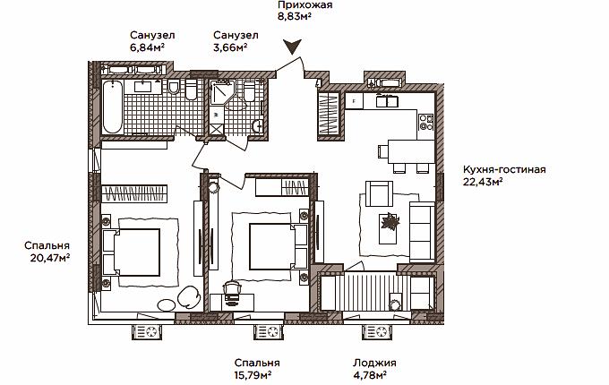 ЖК Камертон вариант планировки двухкомнатной квартиры