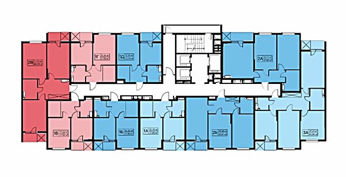ЖК Лебединый поэтажный план первой секции второго дома