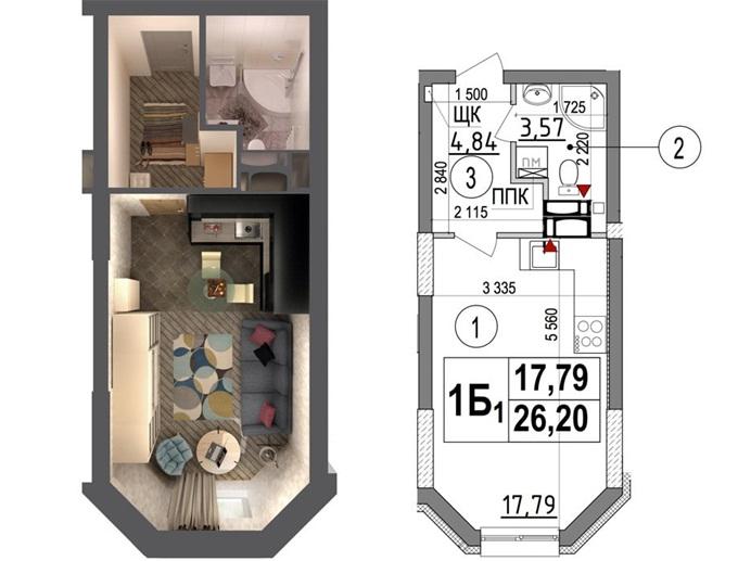 ЖК Ориентир планировка однокомнатной квартиры