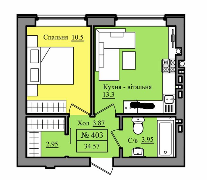 ЖК Петровский городок вариант планировки однокомнатной квартиры