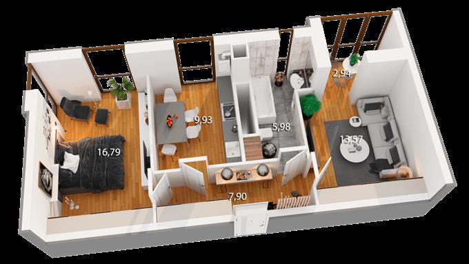 ЖК Реситаль вариант планировки двухкомнатной квартиры