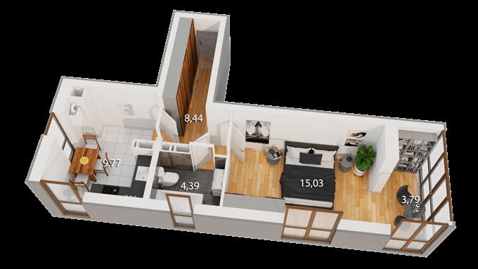 ЖК Реситаль вариант планировки однокомнатной квартиры