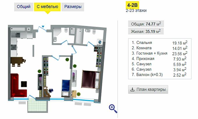 ЖК Заречный вариант планировка двухкомнатной квартиры