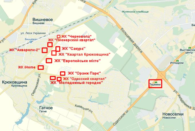ЖК «Акварели-2» и его соседи на карте