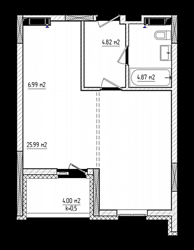 ЖК «Акварели-2» Планировка 1-комнатной квартиры в доме В-7