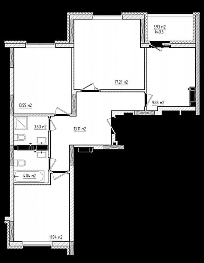 ЖК «Акварели-2» Планировка 3-комнатной квартиры в доме В-7