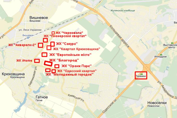 ЖК «Благород» в Крюковщине на карте