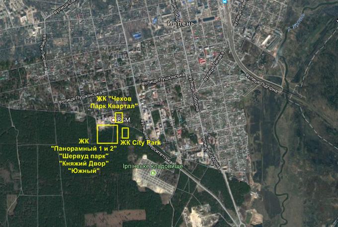 ЖК City Park и его соседи на карте