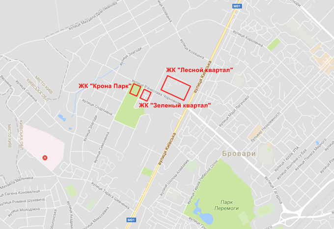 ЖК Krona Park Бровары на карте