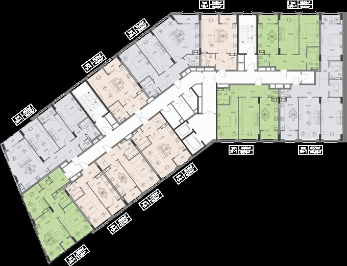 ЖК Метрополис поэтажный план второй секции дома