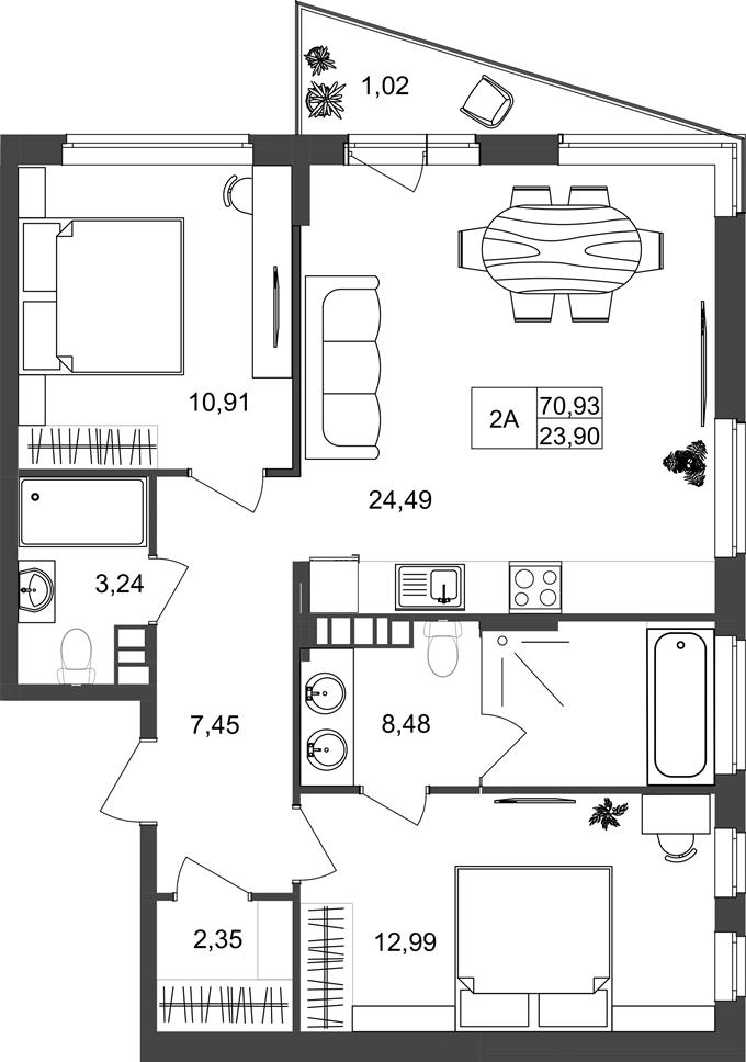 ЖК Нивки Плаза вариант планировки двухкомнатной квартиры