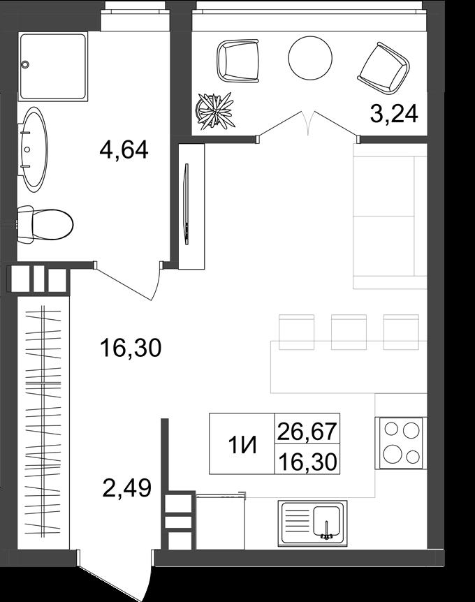 ЖК Нивки Плаза вариант планировки однокомнатной квартиры