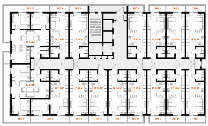 ЖК Standard One поэтажный план первой секции