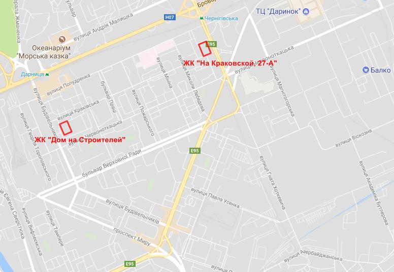ЖК на Краковской 27-а на карте