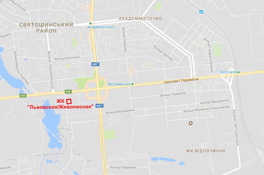 ЖК Львовская-Живописная на карте
