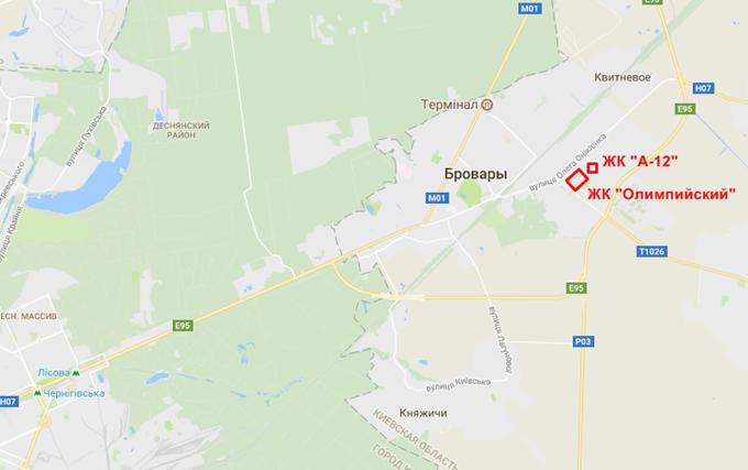 ЖК А-12 Бровары на карте