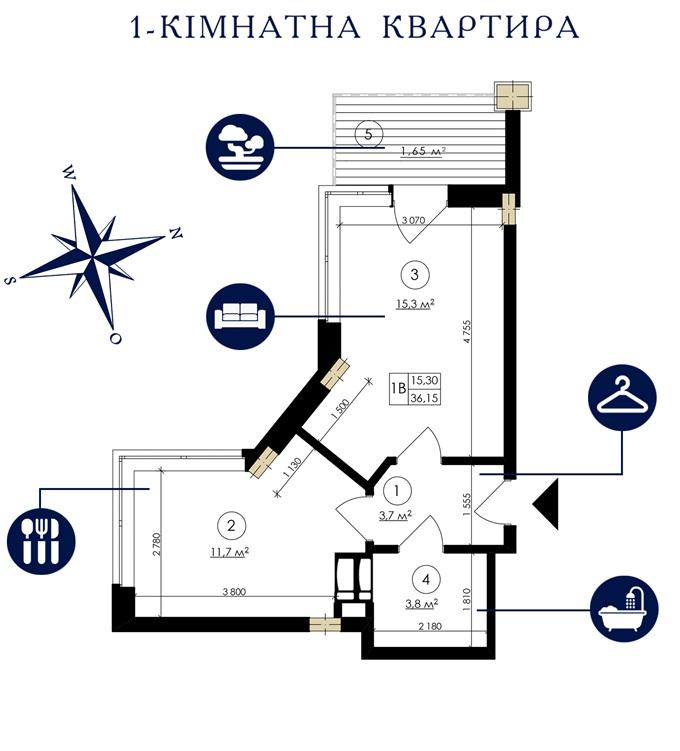 ЖК Каскад Хаус вариант планировки однокомнатной квартиры