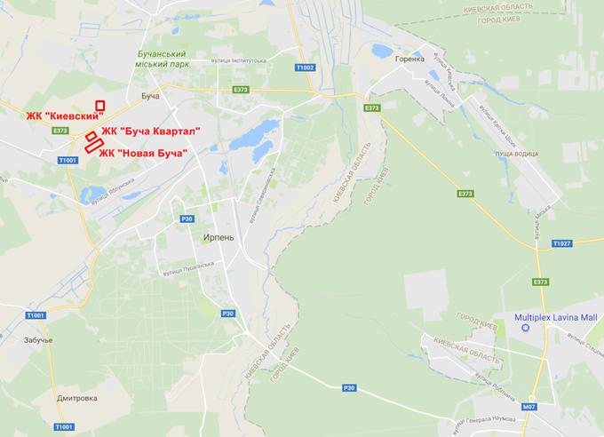 ЖК Киевский Буча на карте