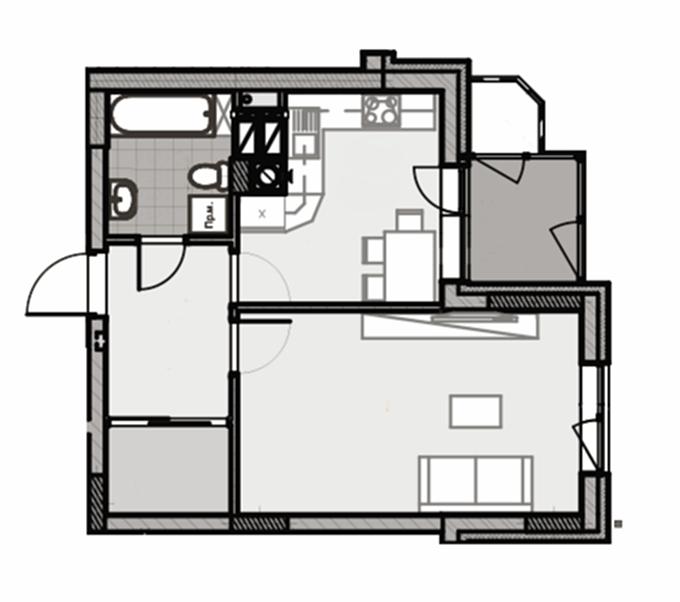 ЖК Лесная сказка 2 стандартный вариант планировки однокомнатной квартиры