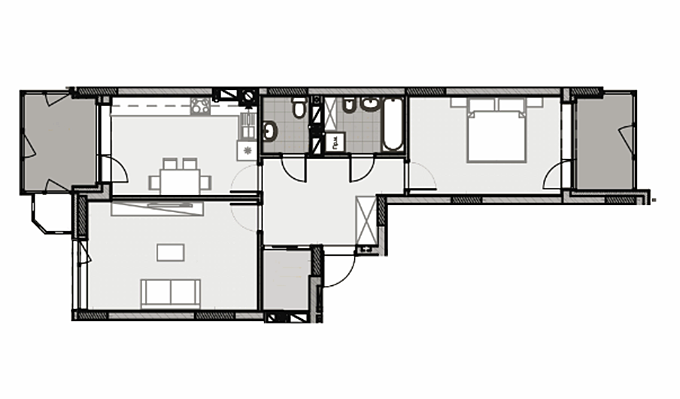 ЖК Лесная сказка 2 вариант планировки двухкомнатной квартиры