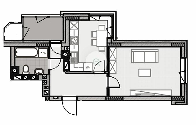 ЖК Лесная сказка 2 вариант планировки однокомнатной квартиры с балконом в коридоре