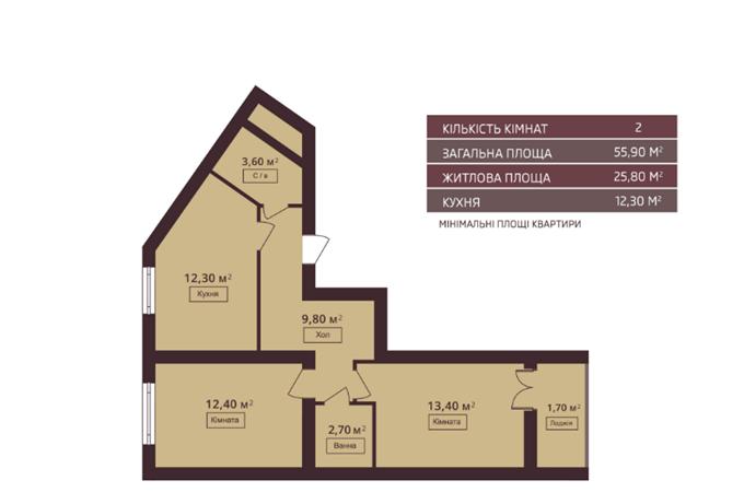 ЖК Мюллер Хаус нестандартная планировка однокомнатной квартиры