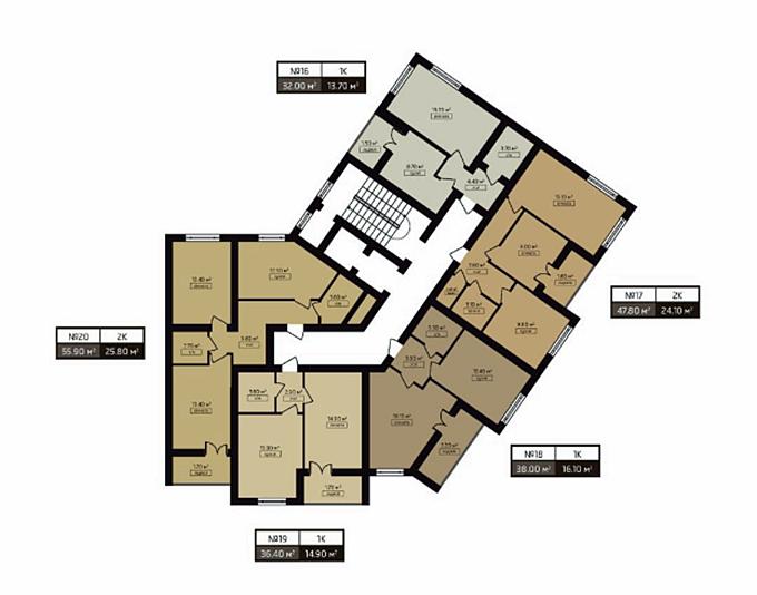 ЖК Мюллер Хаус поэтажный план секции 1