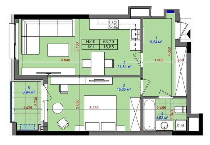 ЖК Тетрис Холл вариант планировки однокомнатной квартиры