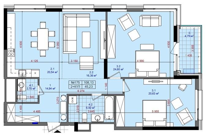 ЖК Тетрис Холл вариант планировки двухкомнатной квартиры