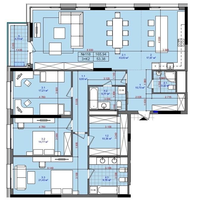 ЖК Тетрис Холл вариант планировки трехкомнатной квартиры