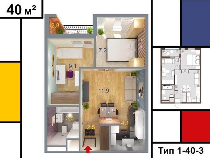 ЖК Арт Парк от УКС вариант планировки двухкомнатной квартиры