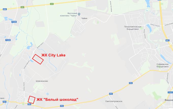 ЖК City Lake Шевченкове на карте