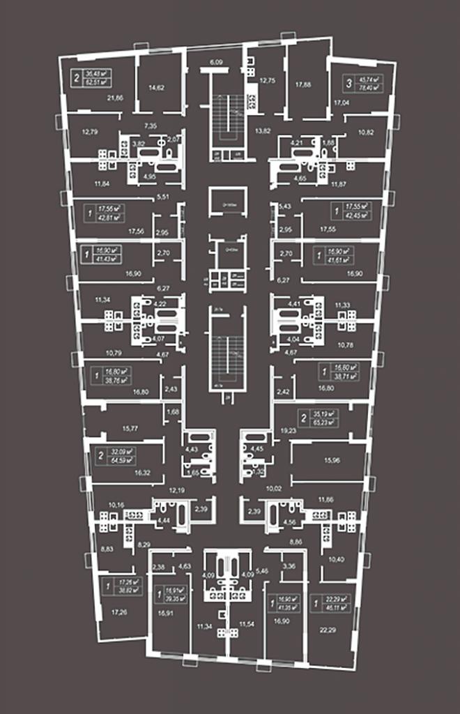 ЖК Кристал Хаус поэтажный план первого дома