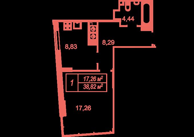 ЖК Кристал Хаус вариант планировки однокомнатной квартиры