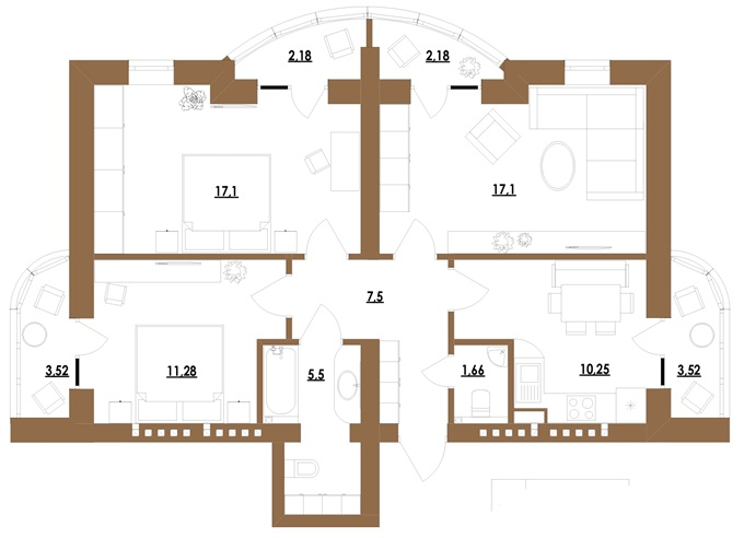 ЖК Комфорт Сити вариант планировки трехкомнатной квартиры