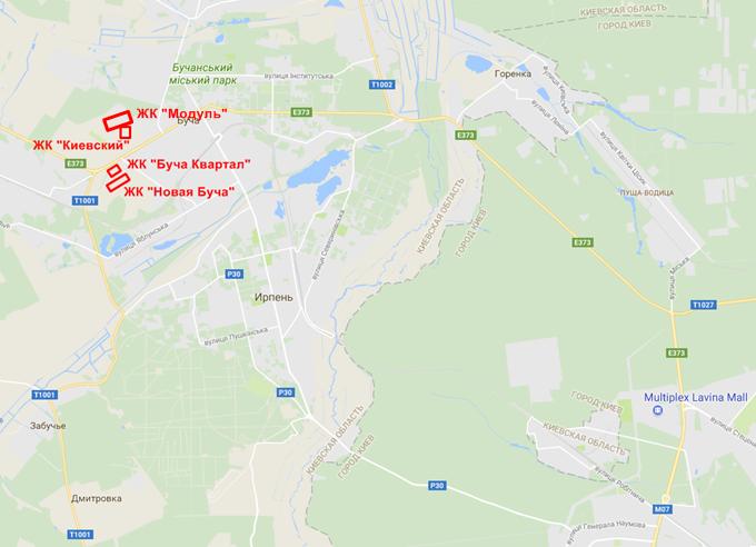 ЖК Модуль Буча на карте