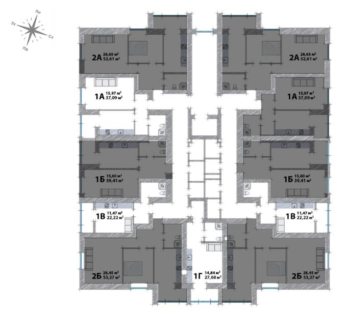 ЖК Модуль Буча поэтажный план домов
