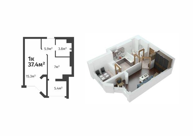 ЖК Святопетровский вариант планировки однокомнатной квартиры