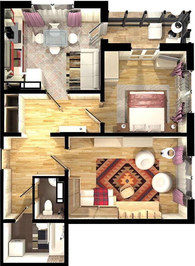 Жилые дома 1-3 Троещина ФК Столица вариант планировки двухкомнатной квартиры