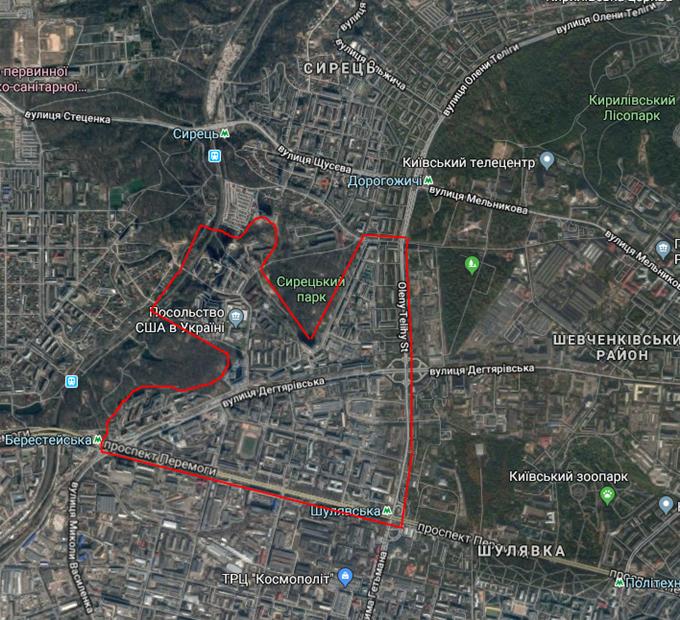ДПТ микрорайоны Дегтяревка Сирец карта
