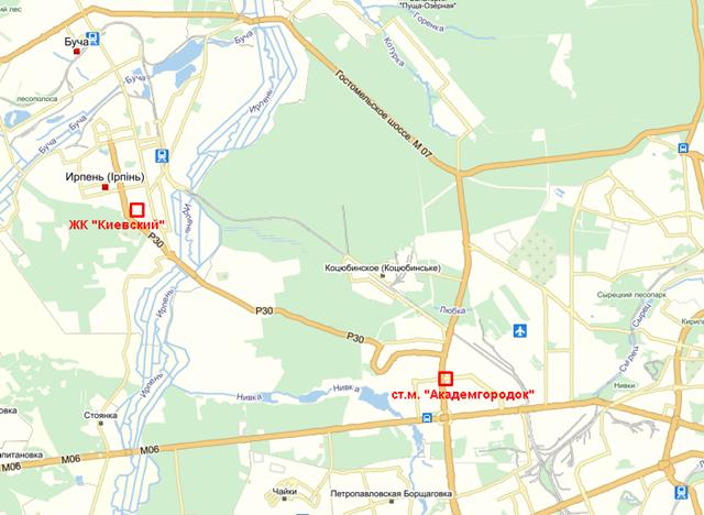 ЖК Киевский Ирпень на карте