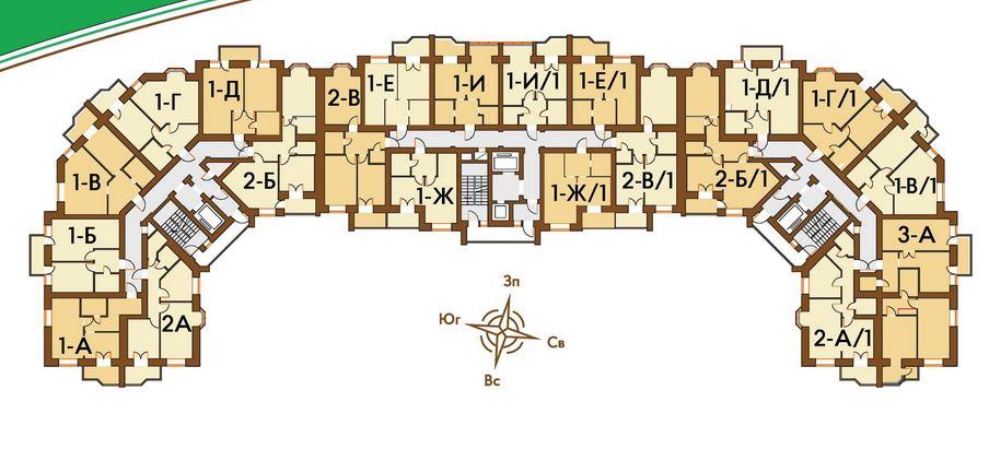 ЖК Киевский Ирпень поэтажный план дома 3