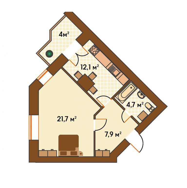 ЖК Киевский Ирпень вариант планировки однокомнатной квартиры