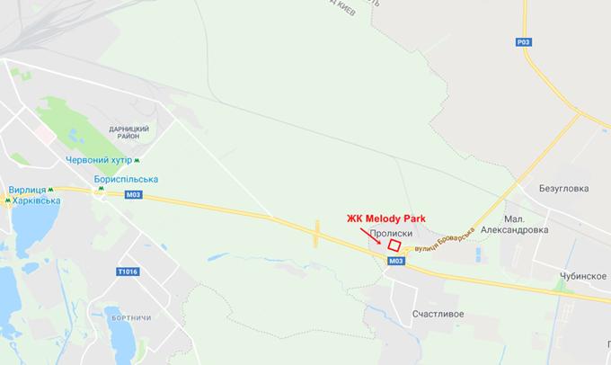 ЖК Мелоди Парк Пролиски на карте